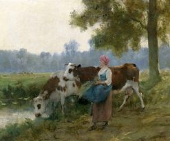 Young Maid with her Cows at the Water's Edge | Julien Dupré | Oil Painting