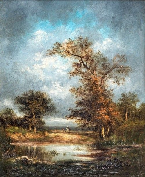 Animated Country Landscape with Pond   Jules Dupré   Oil Painting
