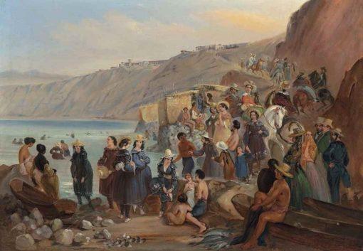 Bathers on the Chorillos beach