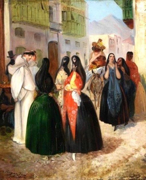 Street Scene in Lima | Johann Moritz Rugendas | Oil Painting