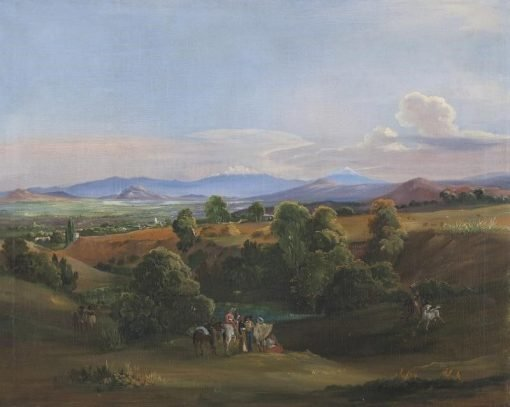 View of the Valley of Mexico with Popocatépetl and Iztaccuihuatl in the Background | Johann Moritz Rugendas | Oil Painting