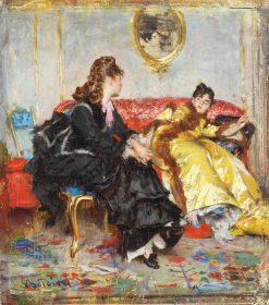 Two Ladies Sitting in an Interior | Giovanni Boldini | Oil Painting