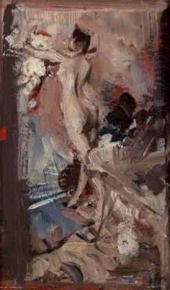 Female Nude with Tiger Skin (study)   Giovanni Boldini   Oil Painting