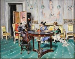 Elder with Two Young Ladies in a Parlor | Giovanni Boldini | Oil Painting