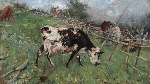 An Afternoon Stroll along a Pasture   Giovanni Boldini   Oil Painting