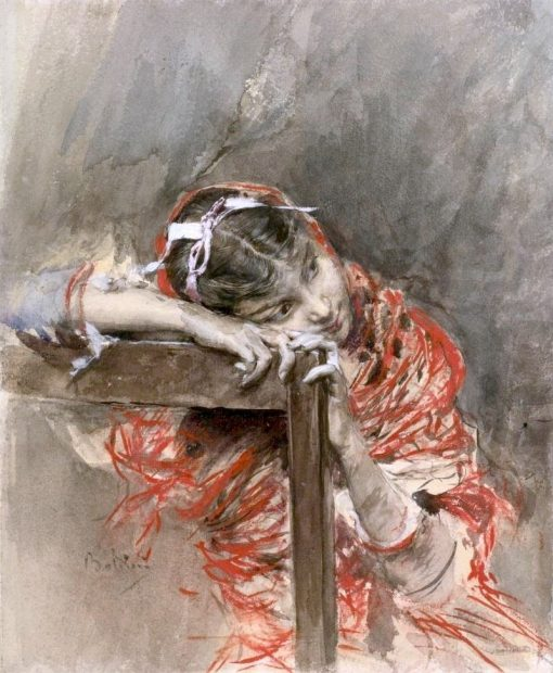 A Girl Wearing a Red Shawl | Giovanni Boldini | Oil Painting