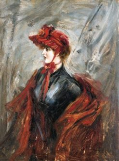Woman in Red   Giovanni Boldini   Oil Painting