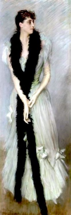 Lady in a Dress Profiled with a Dark Boa | Giovanni Boldini | Oil Painting