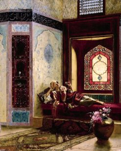 Languorous Oriental Lady with a Rose | Rudolf Ernst | Oil Painting