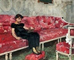 Girl on a Red Sofa | Helene Schjerfbeck | Oil Painting