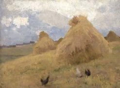 Chickens among Haystacks | Helene Schjerfbeck | Oil Painting
