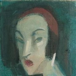 Girl against a Green Background | Helene Schjerfbeck | Oil Painting