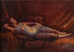 Female Nude Reclining on the Sofa | Delphin Enjolras | Oil Painting