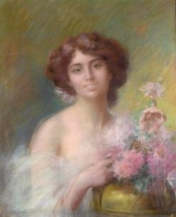 Woman with Dahlias | Delphin Enjolras | Oil Painting