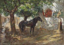 An Arabian Horse in a Sunlit Street | Frederick Arthur Bridgman | Oil Painting