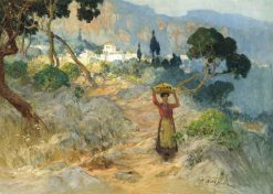 A Maiden Carrying Oranges before an Italian Village | Frederick Arthur Bridgman | Oil Painting