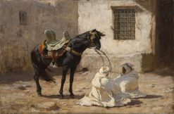 Black stallion and two Bedouin men in a wind storm | Frederick Arthur Bridgman | Oil Painting