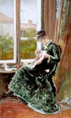 Young Woman Embroidering | Theodor Aman | Oil Painting