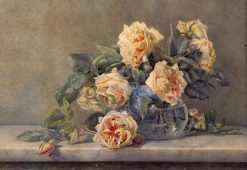 Pink Roses in a Glass Vase | Victoria Fantin-Latour | Oil Painting