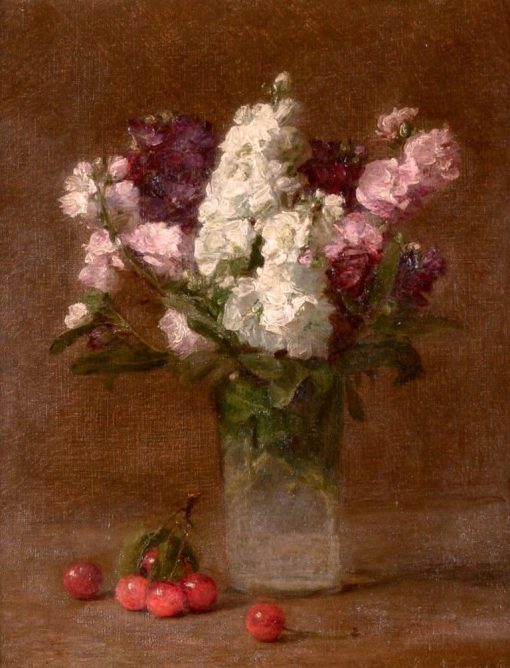 Bouquet of Flowers with Cherries | Victoria Fantin-Latour | Oil Painting