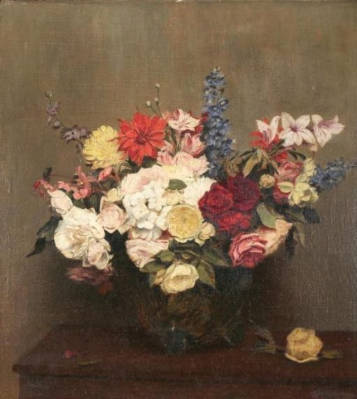 Flower Bouquet on a Table | Victoria Fantin-Latour | Oil Painting