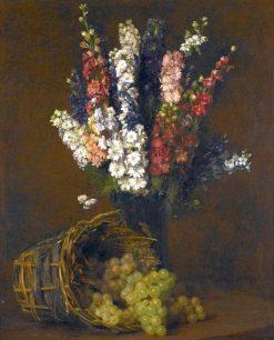 Delphinium and White Grapes | Victoria Fantin-Latour | Oil Painting