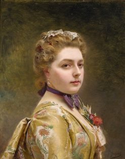 A Lady in a Golden Gown | Gustave Jean Jacquet | Oil Painting
