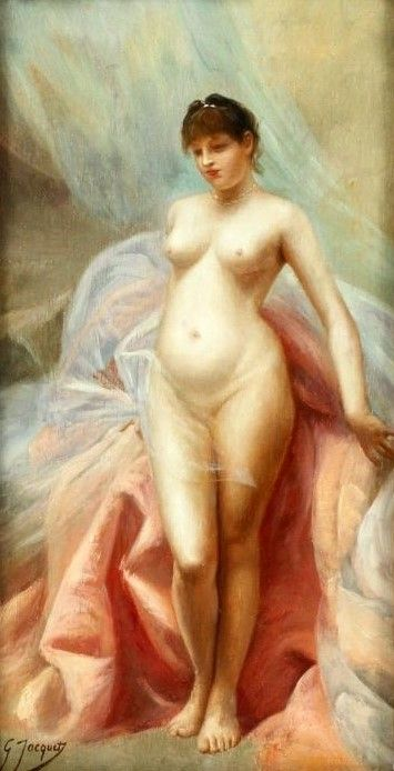 Standing Female Nude Painting | Gustave Jean Jacquet Oil Paintings