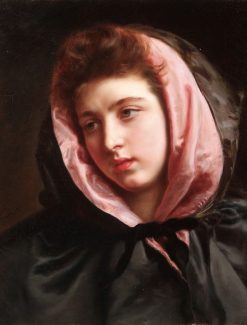 A Young Beauty with Silk Cape | Gustave Jean Jacquet | Oil Painting