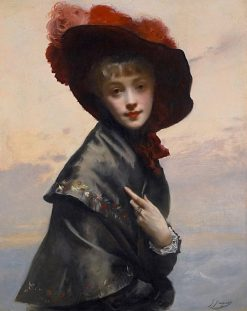 Lady with a Hat | Gustave Jean Jacquet | Oil Painting