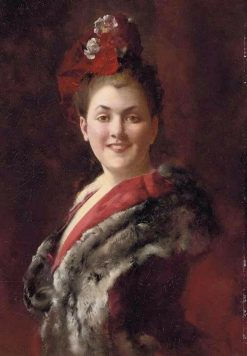 Lady in a Fur-Lined Cape | Gustave Jean Jacquet | Oil Painting