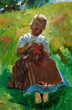 Knitting Girl | Cuno Amiet | Oil Painting