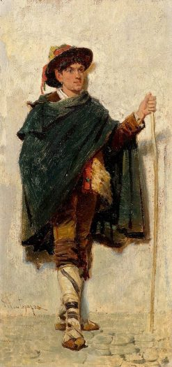 Shepherd in Traditional Costume | Giacomo Mantegazza | Oil Painting