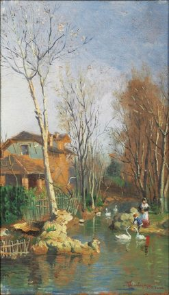 Banks of the River with Swans | Giacomo Mantegazza | Oil Painting