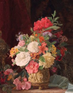 An Opulent Floral Still Life with Ornamental Vases | Rosalie Amon | Oil Painting