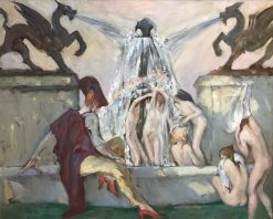 Figures Under A Fountain | John Henry Amshewitz | Oil Painting
