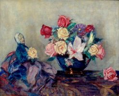 Floral Still Life with Roses and Vase with Human Doll Figure | John Henry Amshewitz | Oil Painting