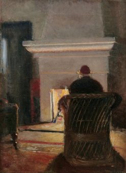 Interior with Holger Drachmann at the fireplace in Villa Pax