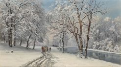 The English Garden in Munich in Winter | Anders Anderson-Lundby | Oil Painting
