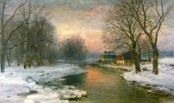 Winter Landscape with Farmhouses in Munich | Anders Anderson-Lundby | Oil Painting