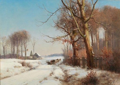 A Horse-drawn Sledge in a Snowy Landscape | Anders Anderson-Lundby | Oil Painting