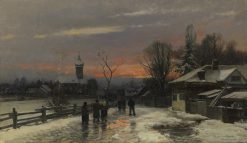 Wintery Walk to Church in the Dusk | Anders Anderson-Lundby | Oil Painting