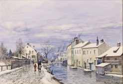 Wintery View of Munich with City Brook | Anders Anderson-Lundby | Oil Painting