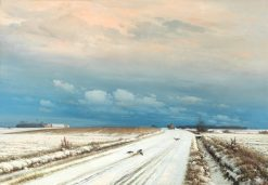 Lonely Horse and Cart in a Cloudy Winter Landscape | Anders Anderson-Lundby | Oil Painting