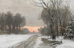 Winter Scenery with a Red Sky over Munich | Anders Anderson-Lundby | Oil Painting