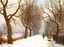 Winter Scene with People Walking along a Brook | Anders Anderson-Lundby | Oil Painting