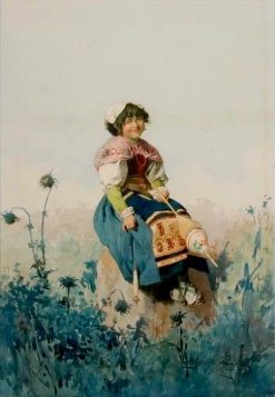 A Neopolitan Spinning Girl in Field | Domenico de Angelis | Oil Painting