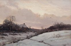 A Farm in a Snowy Landscape at Sunset | Louis Apol | Oil Painting