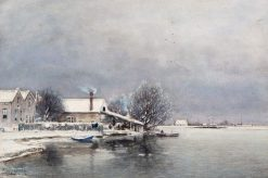 A Cold Winter Day at the Lakeside | Louis Apol | Oil Painting
