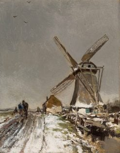 Dutch Polder Landscape in Winter with a Man and Horse near a Mill | Louis Apol | Oil Painting